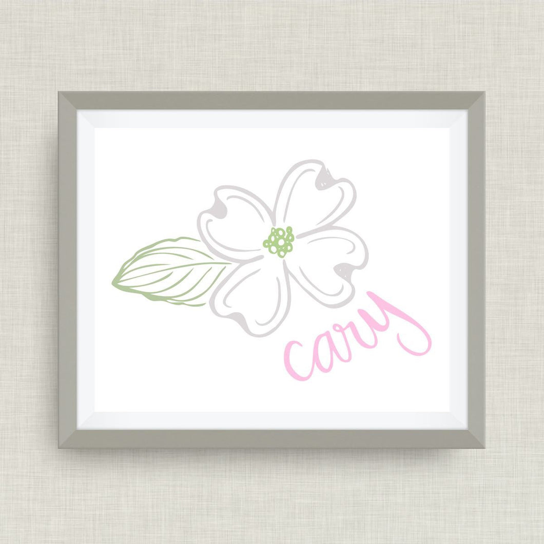 cary north carolina - dogwood flower art print