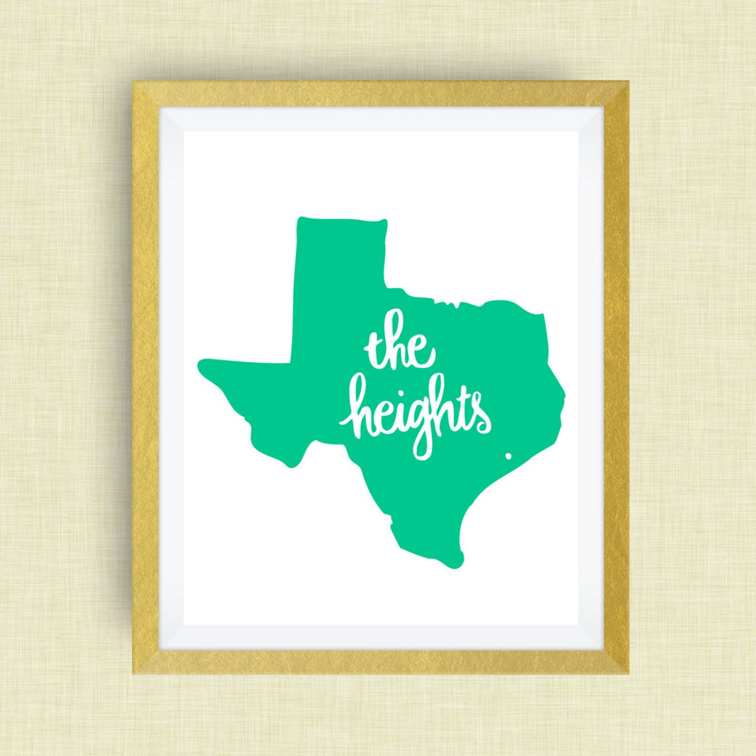 Houston Heights Art Print in script - hand drawn, hand lettered, Option of Real Gold Foil