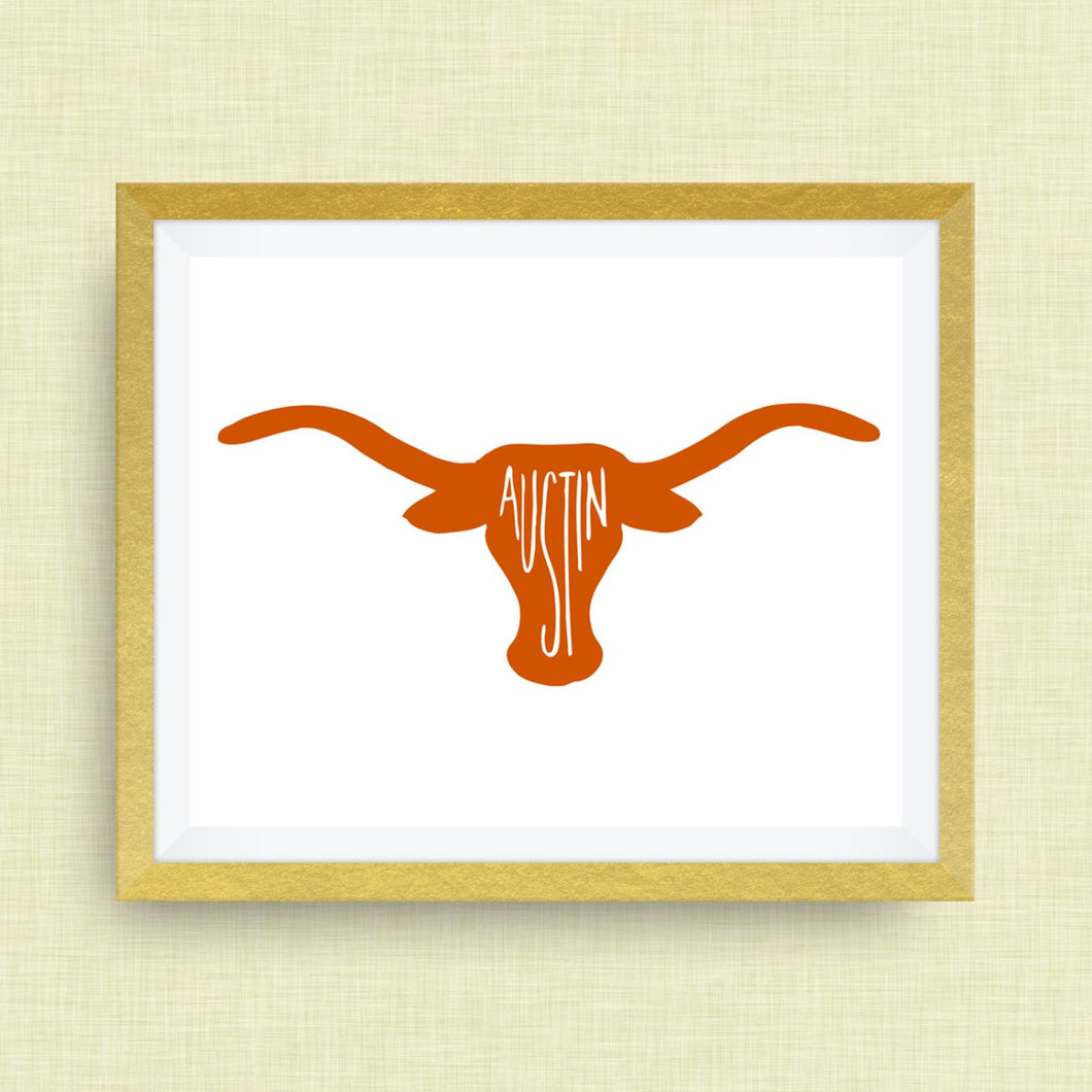 Austin Art Print, Longhorn Art Print -  hand drawn, hand lettered, Option of Real Gold Foil