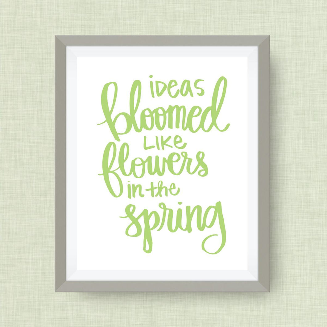 ideas bloomed like flowers in the spring print, option of Gold Foil Print