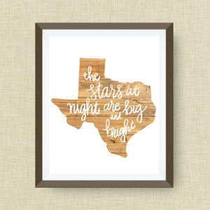 the stars at night are big and bright TX, wood background - hand drawn, hand lettered, Option of Real Gold Foil
