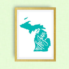 Michigan Print - hand lettering, hand drawn, teal, Michigan art print
