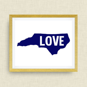 LOVE North Carolina Print - hand drawn, with heart, option of gold foil