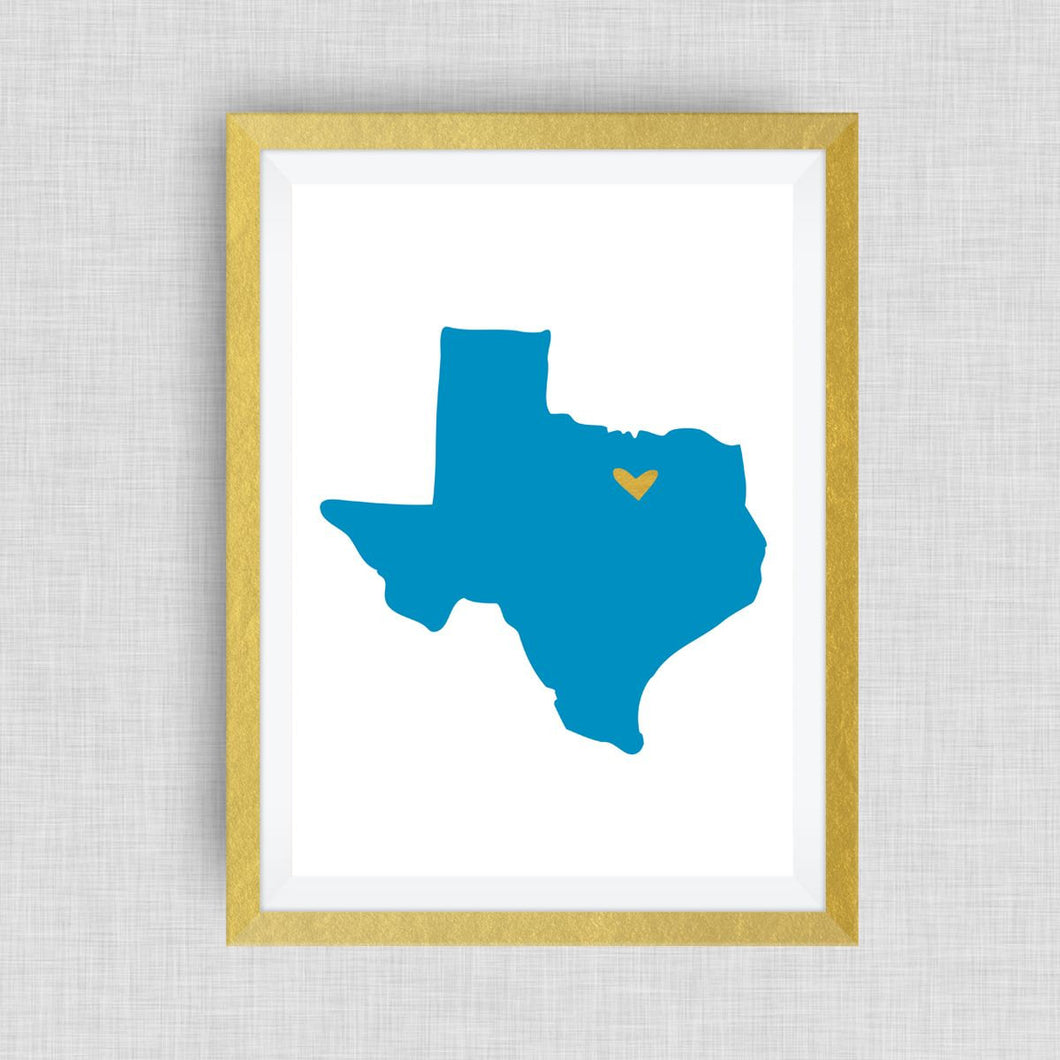 Texas Print - hand drawn, with heart, option of gold foil