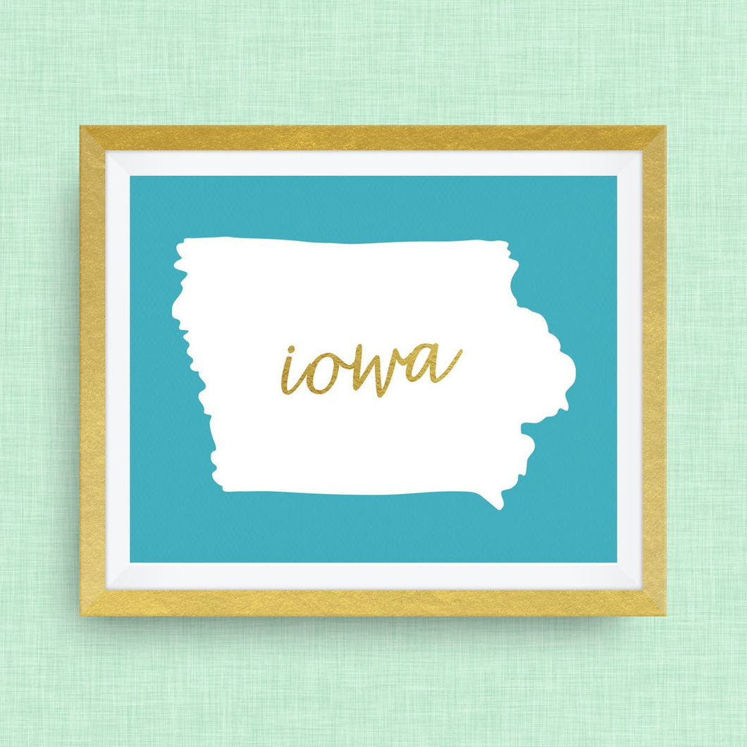 Iowa Art Print, option of Gold Foil Lettering