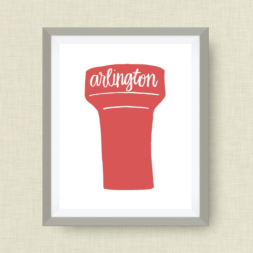 Arlington Art Print - Arington Water Tower, TX, hand drawn, hand lettered, Option of Real Gold Foil