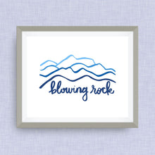 Blowing Rock Art Print - hand drawn, hand lettered, Option of Real Gold Foil
