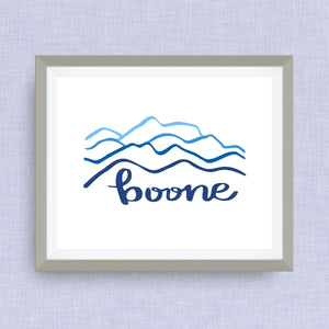 Boone Art Print - hand drawn, hand lettered, Option of Real Gold Foil