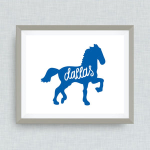 Dallas Art Print - TX, hand drawn, hand lettered, Option of Real Gold Foil