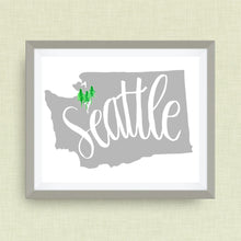Washington State Art Print - Seattle , Hand Lettered, option of Gold Foil, Wedding Art