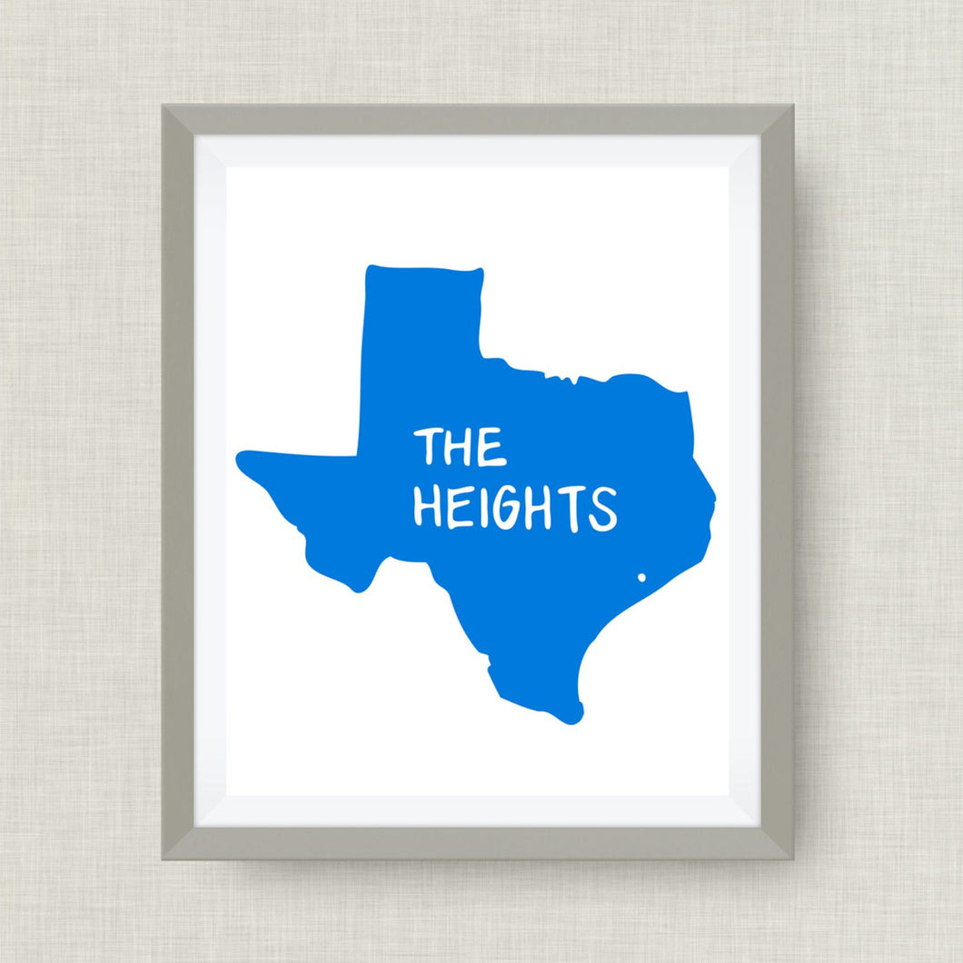 Houston Heights Art Print  - hand drawn, hand lettered, Option of Real Gold Foil