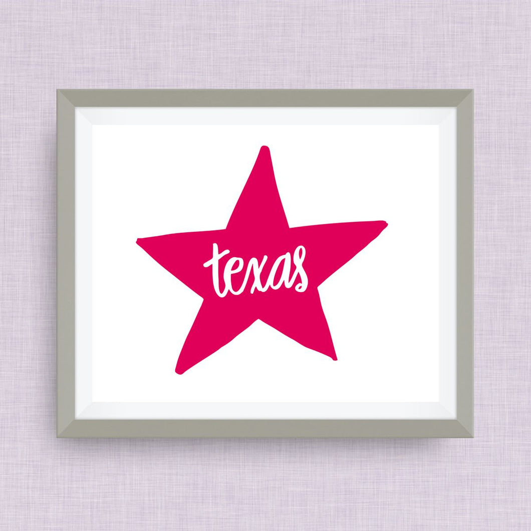 Texas Star Art Print TX, hand drawn, hand lettered, Option of Real Gold Foil