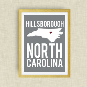 Hillsborough North Carolina Print, - State Art Print