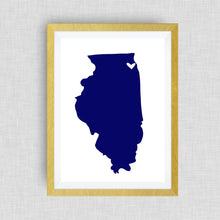 Illinois Print - hand drawn, with heart, option of gold foil