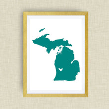 Michigan Print - hand drawn, with heart, option of gold foil