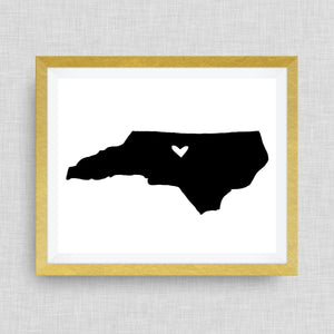 Greensboro, North Carolina Print - hand drawn, with heart, option of gold foil