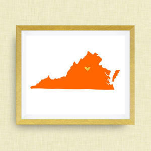 Virginia Print - hand drawn, with heart, option of gold foil