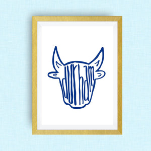Durham Art Print - Bull Durham, NC, hand drawn, hand lettered, Option of Real Gold Foil