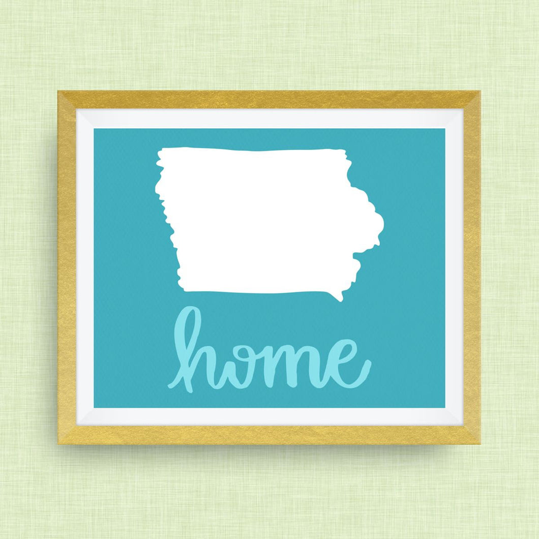 iowa home print - hand drawn, hand lettered, Option of Real Gold Foil