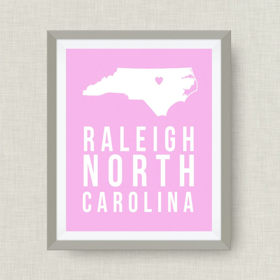 Raleigh Art Print, North Carolina Art Print - Goil Foil Star Option