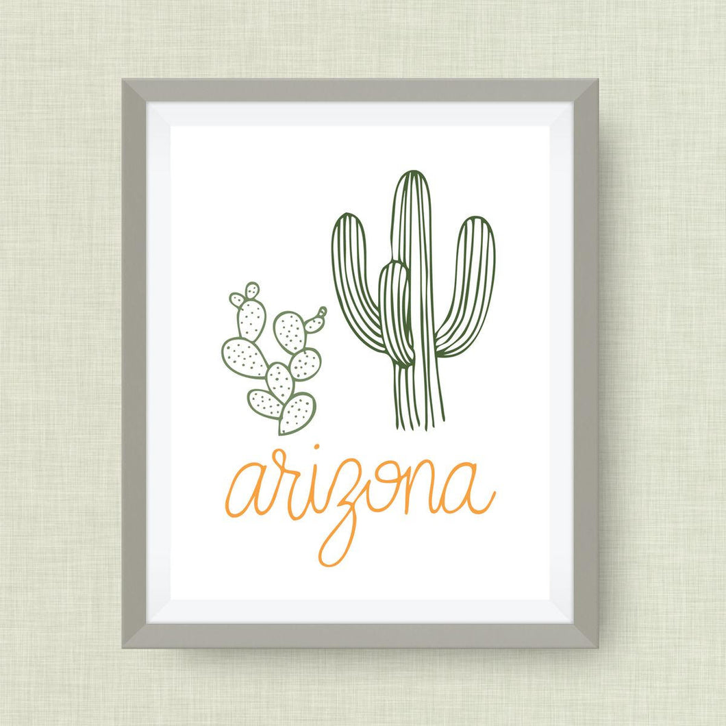Arizona Art Print, Saguaro, Prickly Pear, State Symbol,option of gold foil