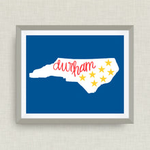 Durham Art Print - Seven Stars, Bull Durham, NC, hand drawn, hand lettered, Option of Real Gold Foil
