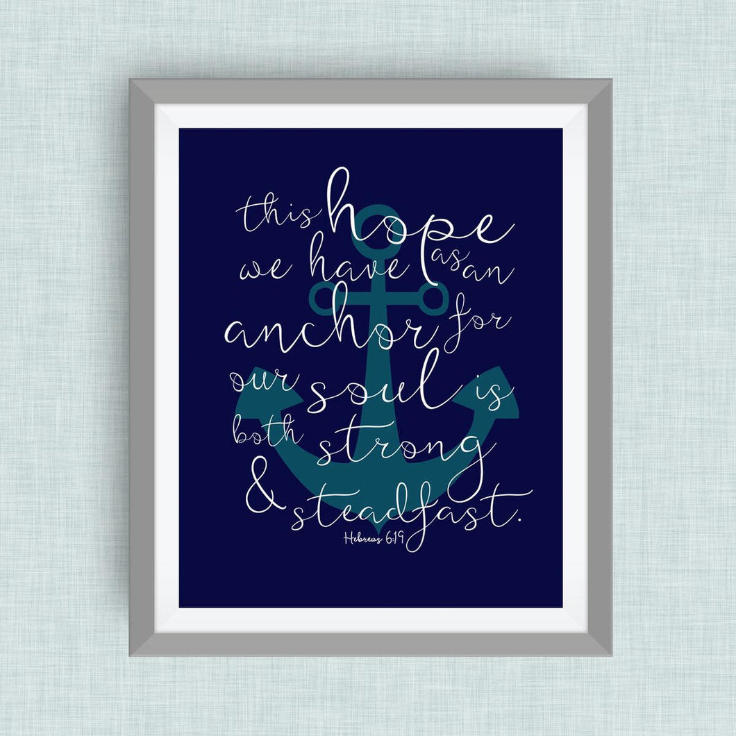 Hope and Anchor Bible Verse -  navy and teal