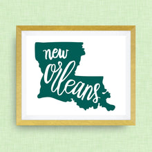New Orleans, Louisiana art print - hand drawn, hand lettered, Option of Real Gold Foil
