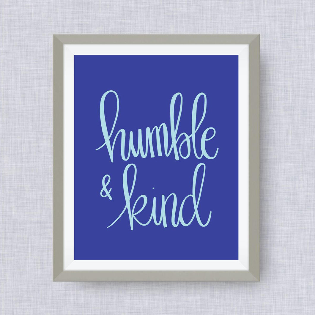 humble & kind art print, option Gold Foil, love, anniversary art