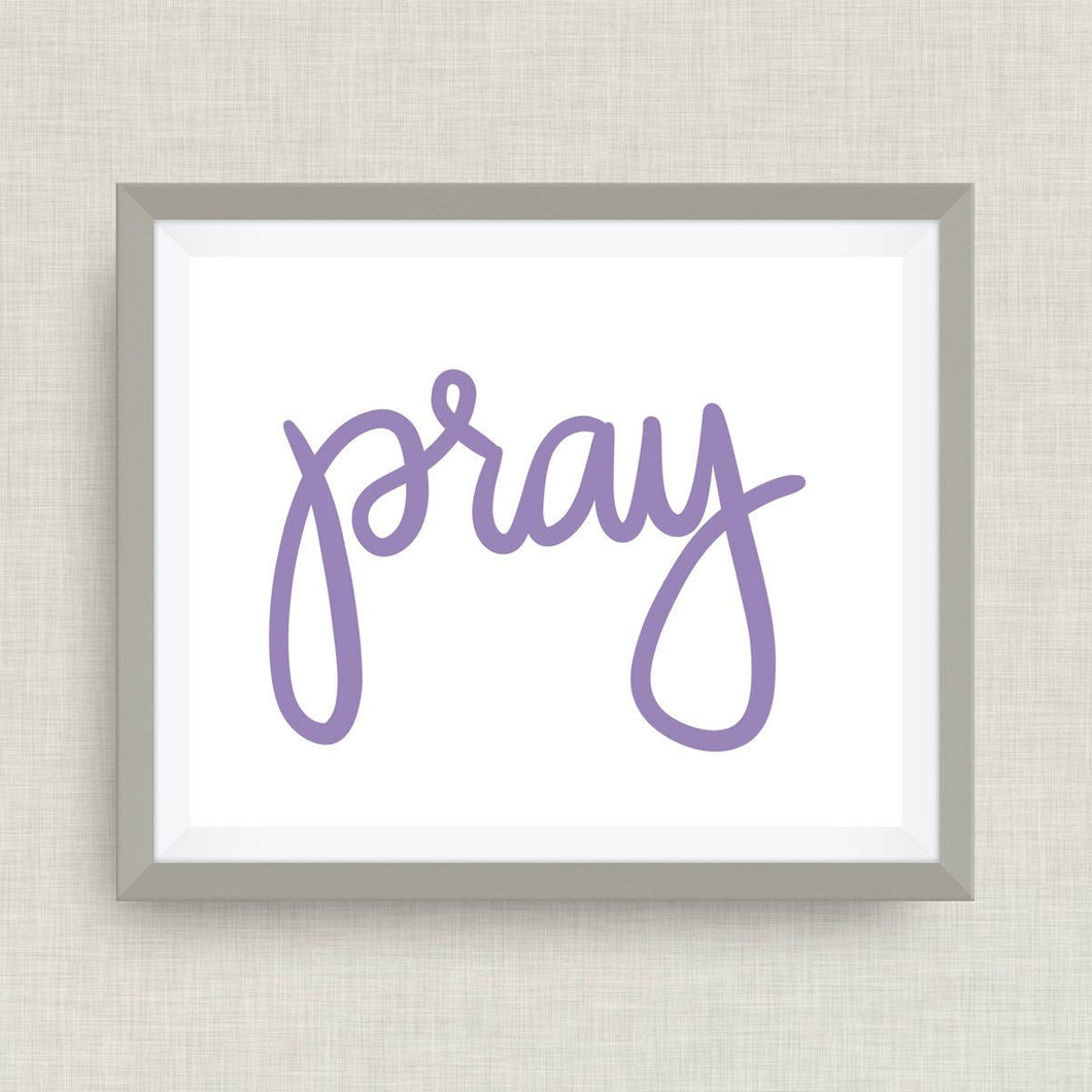 pray hand drawn, hand lettered, Option of Real Gold Foil, rainbow, watercolor