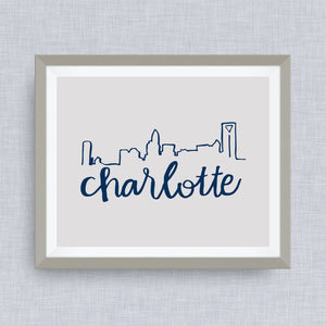 charlotte skyline art print - queen city