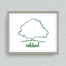Oakland Art Print -  hand drawn, hand lettered, Option of Real Gold Foil