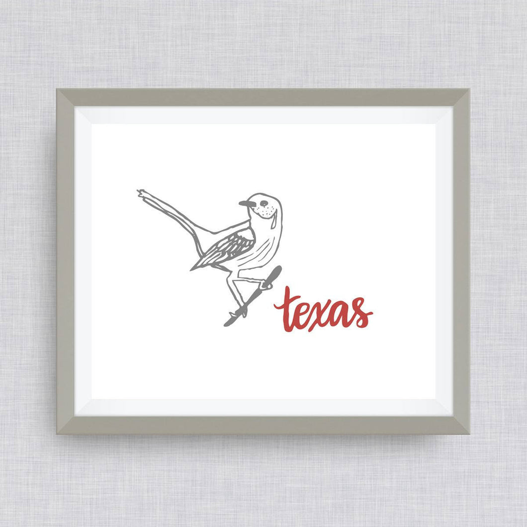 Texas Mockingbird Art Print - hand drawn, hand lettered, Option of Real Gold Foil