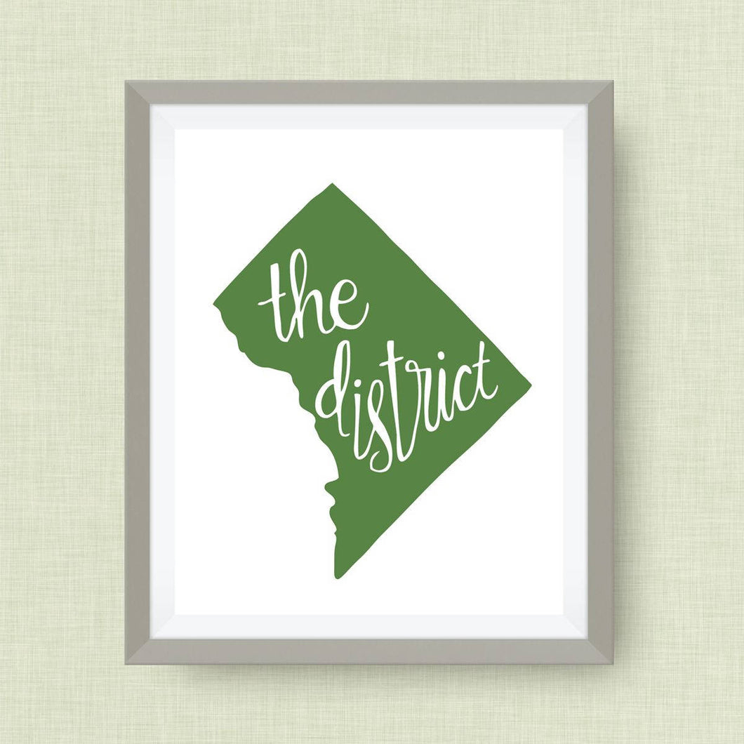 District of Columbia art print, The District, DC, Hand Lettered, option of Gold Foil, Wedding Art