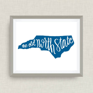 The Old North State, North Carolina art print - hand drawn, hand lettered, Option of Real Gold Foil