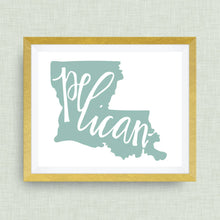 Pelican, Louisiana art print - hand drawn, hand lettered, Option of Real Gold Foil