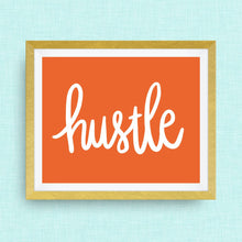 hustle hand drawn, hand lettered, Option of Real Gold Foil, rainbow, watercolor
