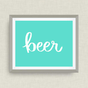 beer - hand drawn, hand lettered, Option of Real Gold Foil, rainbow, watercolor