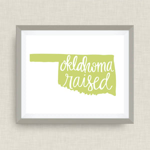 oklahoma raised art print - hand drawn, hand lettered, Option of Real Gold Foil