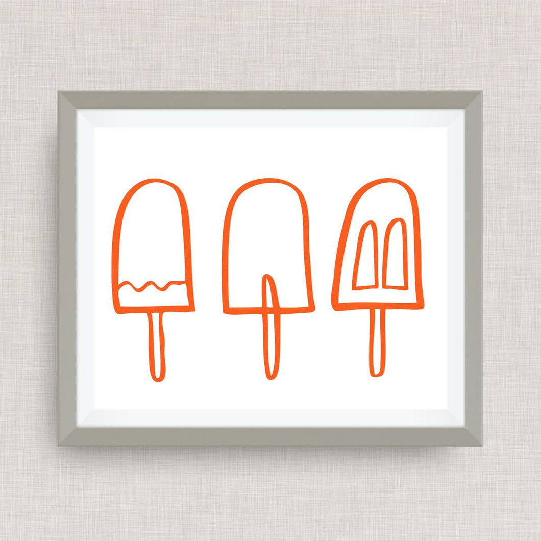 hand drawn popsicle art print - Option of Real Gold Foil