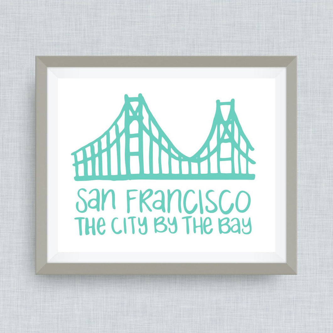 San Francisco Art Print - Golden Gate Bridge - City By the Bay - hand drawn, hand lettered, Option of Real Gold Foil