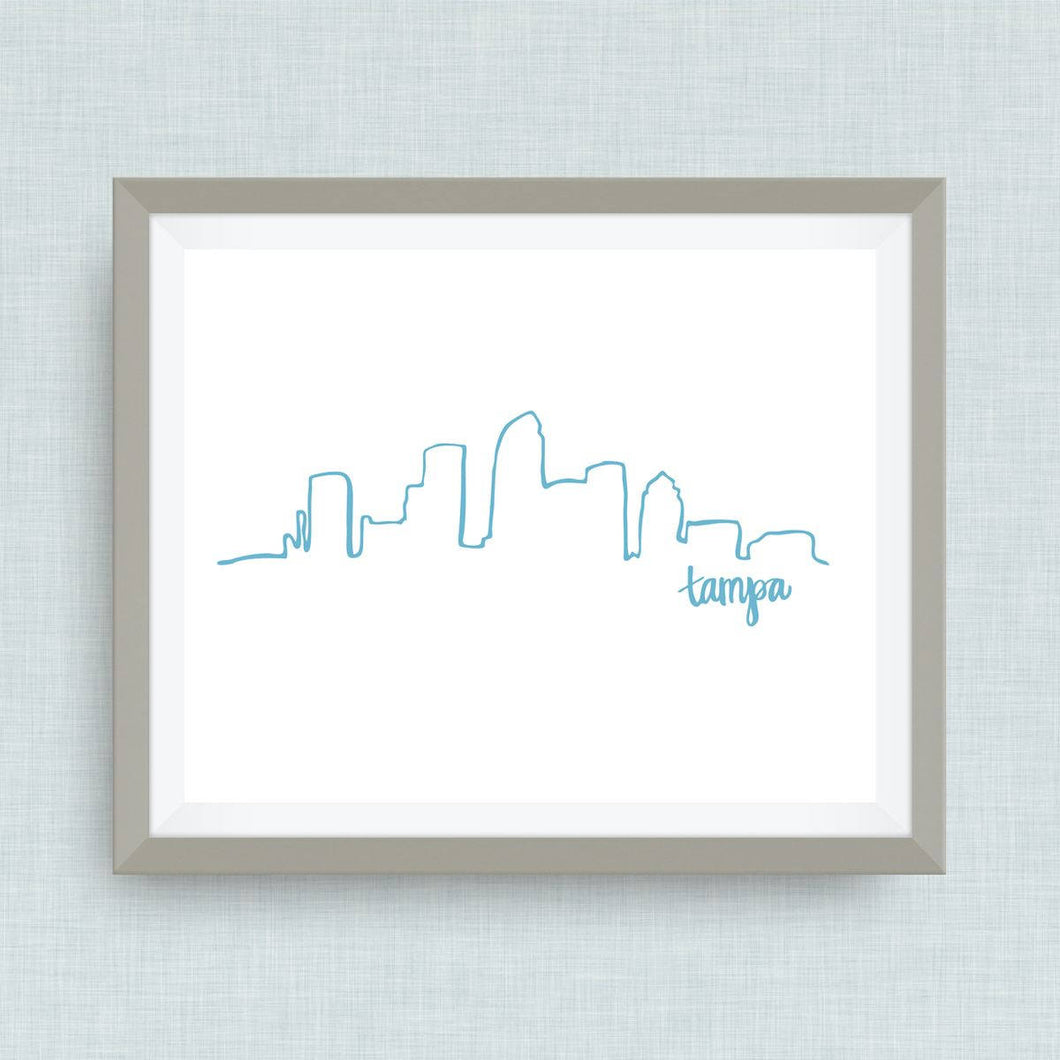 Tampa Skyline Art Print - hand drawn, hand lettered, Option of Real Gold Foil