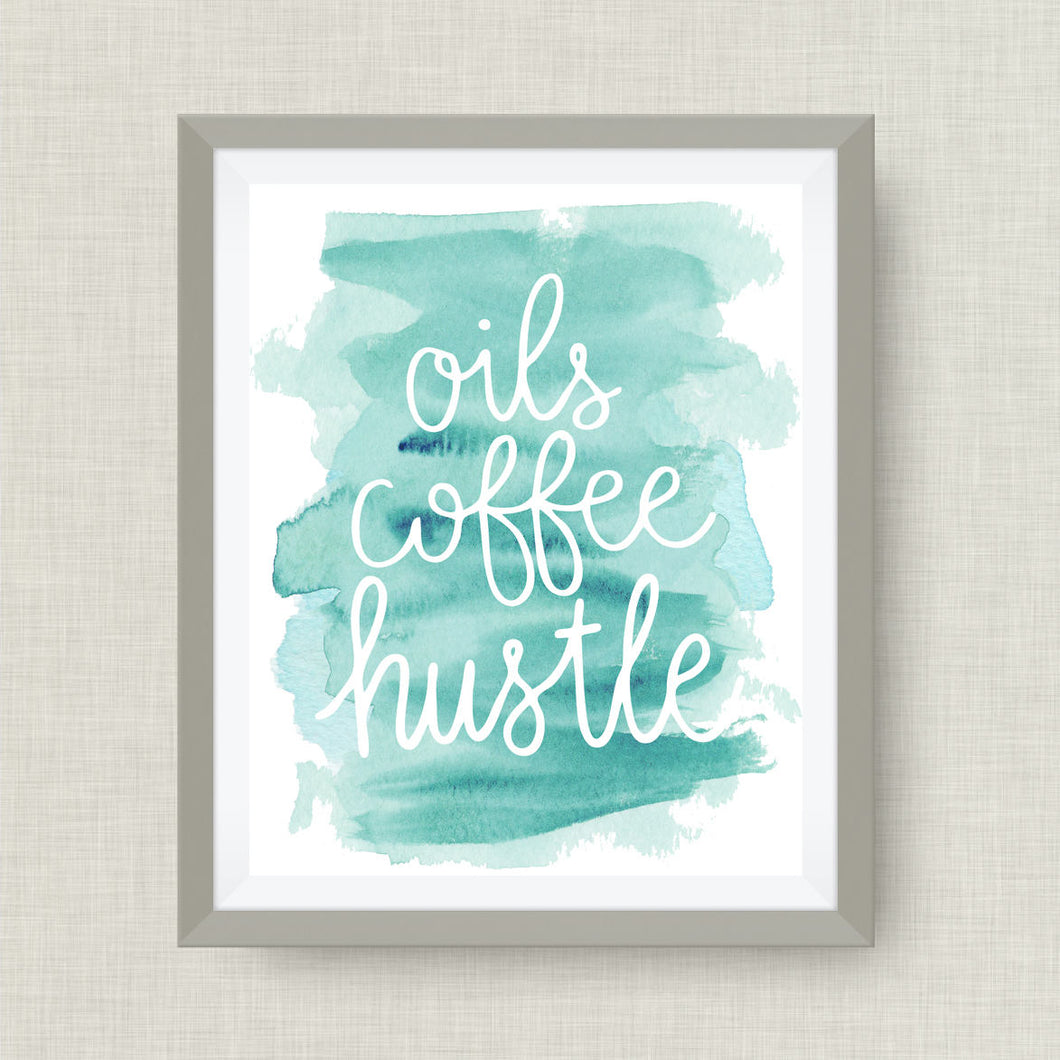 oils coffee hustle - watercolor-essential oil art print - option of real gold foil, rainbow, watercolor
