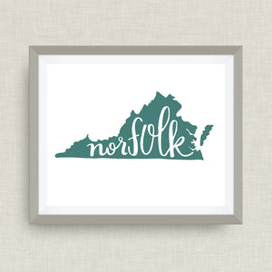 norfolk art print, virginia - hand drawn, option of gold foil