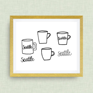 Seattle Coffee Art Print, Hand Lettered, option of Gold Foil, Wedding Art