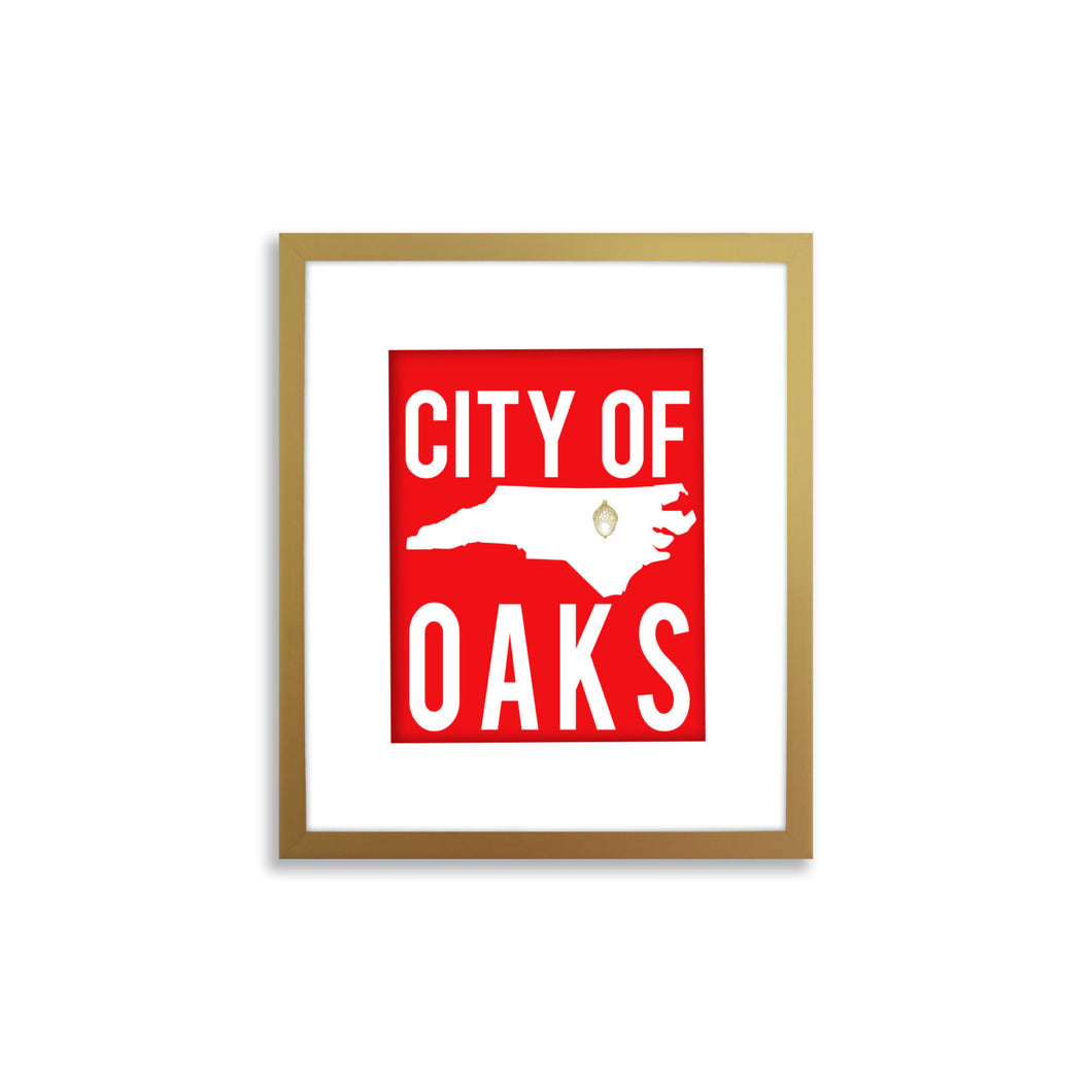 Raleigh Art Print, North Carolina Art Print - City of Oaks Gold Foil Acorn