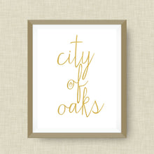 City of Oaks Art Print, Raleigh NC, option of Gold Foil Print