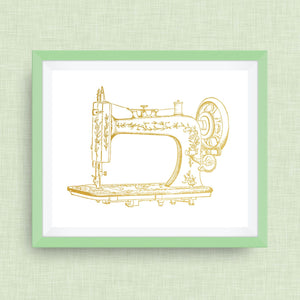 Sewing Machine Art Print, option of Gold Foil Print