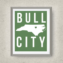 bull city art print, durham north carolina