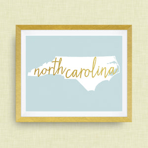 North Carolina Art Print, option of Gold Foil Lettering